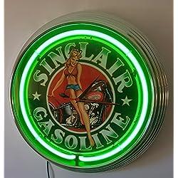 Neon reloj–Pinup Girl Sinclair Gasolina Sign–Iluminación Neon Verde.