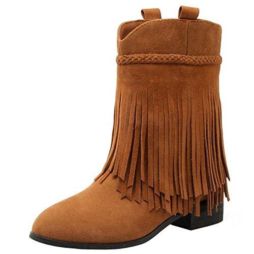 RAZAMAZA Klassische Damen Stiefeletten Fransen Stiefel (41 EU, Light Brown)