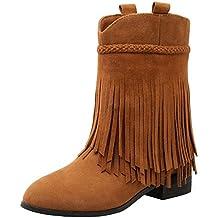 a126656424e66 RAZAMAZA Zapatos de Mujer Medio Botas con Flecos Botines
