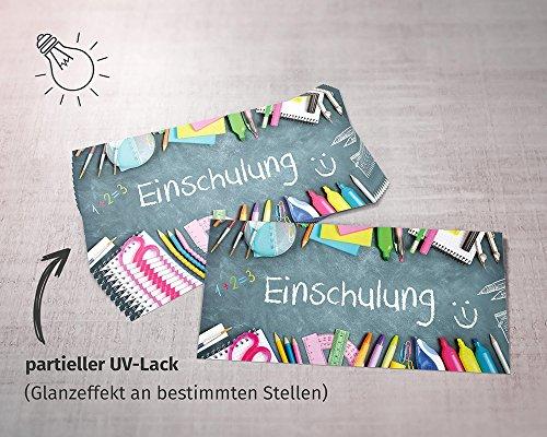 beriluDesign Einschulung Einladungskarten mit Umschlägen (12er Set) Zum Schulanfang | Liebevoll Gestaltete Einladungen für Kinder Zum Schulbeginn - 6