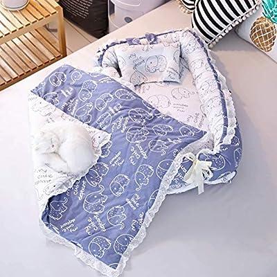 Miyanuby Cunas para Bebes   Algodón de Cama de Bebé   Cuna de Viaje Portátil   Bebé Desmontable Cocoon Pod Dormir   Cuna de Bebe + Edredon + Almohada