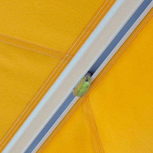 Gelenkarmmarkise Basic mit Volant / Alu Markise weiss / 250 x 150 cm / Stoff elfenbein (2,50 x 1,50 m) -