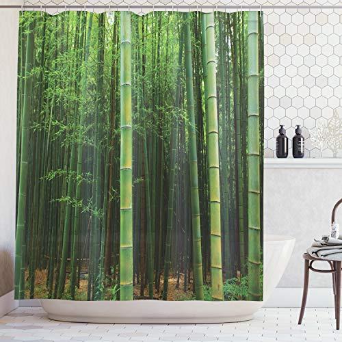 ABAKUHAUS Duschvorhang, Bild Eines Exotischen Bambus Waldes Klaren Jungle Tropisches Foto Druck Grünen Himmlischen Wald, Wasser und Blickdicht aus Stoff mit 12 Ringen Schimmel Resistent, 175 X 200 cm