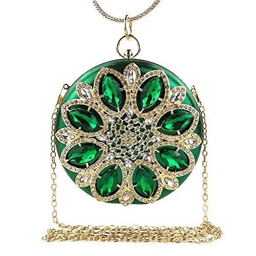 WENDYRAY Runde Abend Clutch Bag Strass Kristall Hochzeit Braut Clutch Geldbörse mit Ring Griff Woman's Party Handtaschen Umhängetasche,Green,S - Diamond Wedding Frau Ring