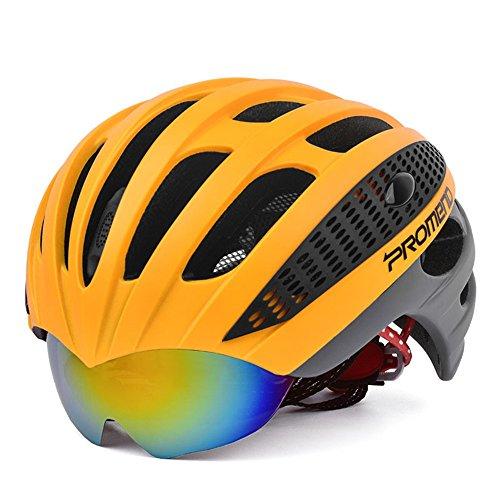 Ergou Radfahren Helm Mountain Bike Riding Helm Ein mit Brille Leichte Helm Rennrad Männer und Frauen Brillenmodelle, Orange Ash Ash Helm