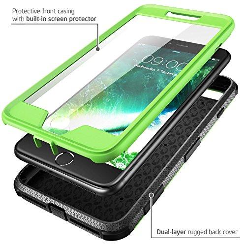 iPhone 7 Plus Hülle, iPhone 8 Plus Hülle, i-Blason Armorbox Schutzhülle Cover Full Body Case Schale mit eingebautem Displayschutzfolie und Gürtelclip für Apple iPhone 7 Plus / iPhone 8 Plus,Schwarz Grün
