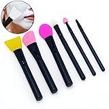 MLMSY Gesichtsmaske Pinsel Silikon Make-up Pinsel Set 6 Pack Gesichts Applikator Maske Pinsel Set und Augen Make-up Pinsel für Maske Schlamm Körperlotion Kosmetik Silikon Pinsel Zufällige Farbe