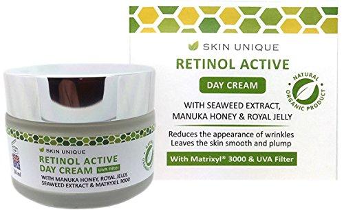 Retinol aktive Tagescreme 50 ml - Natürliche & organische Anti-Aging Gesichts-Feuchtigkeitscreme...