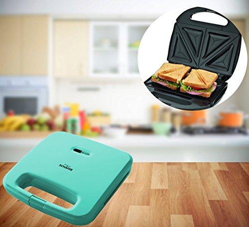 Praktische Sandwichtoaster 750W Sandwichmaker Sandwich Toaster Panini Maker Doppel Toaster antihaftbeschichtet in verschiedenen Farben (Türkis)