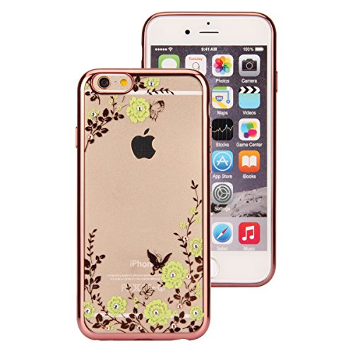 iPhone 7 Custodia Sveglio, Soft TPU Gel Cover per iPhone 7, MAOOY Shell Placcatura Edge in Lucido di Cristallo di Scintillio Strass Shock Absorption Protettiva Trasparente Ultra Sottile Chic Clear Bum Fiori Rosa Verdi