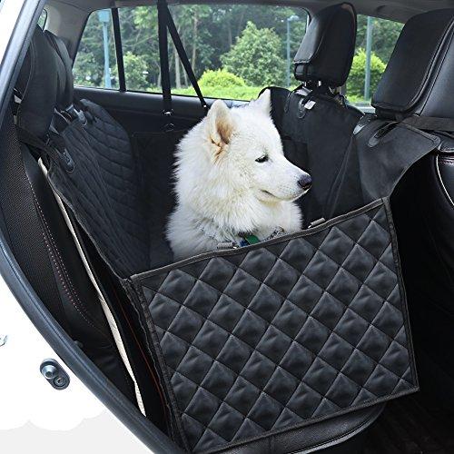 GHB Cubierta de Asiento de la Hamaca del Coche con Doble Cremallera Cubierta de Protección del Perro para Mascotas y Viajes de Algodón con Hebilla de Seguridad