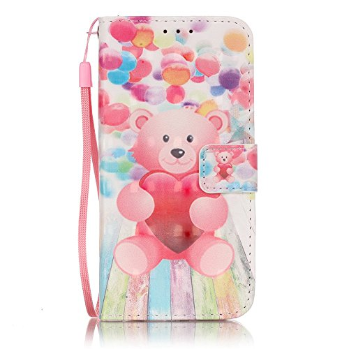 Uming® Retro Muster Druck PU Kasten Fall Holster Abdeckung Hülle Case ( Three times Campanula - für IPhone6SPlus IPhone 6SPlus 6Plus IPhone6Plus ) Artificial Künstlich Flip mit Bracket Standplatz Stan Balloon Bear