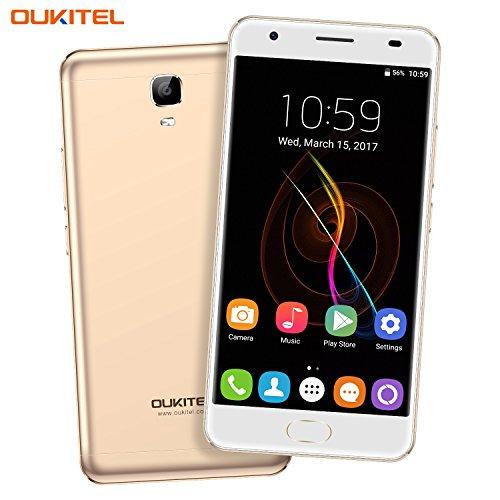 Handy ohne Vertrag, Oukitel K6000 Plus 5.5 Zoll Smartphone 6080 mAh Akku Android 7.0 4GB RAM 64GB ROM Dual Kamera 16MP 8MP 4G LTE FHD Touch-Display Octa-Core Dual Nano SIM Handy Fingerabdruck-Gold