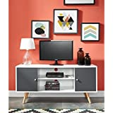 BABETTE Meuble TV 116 cm - Blanc et gris foncé