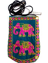 Kasia™ Designer Jaipuri Embroided Mobile-Phone Sling Pouch Cover With Purse Pocket And Saree Hook For Women And... - B07F14JT8T