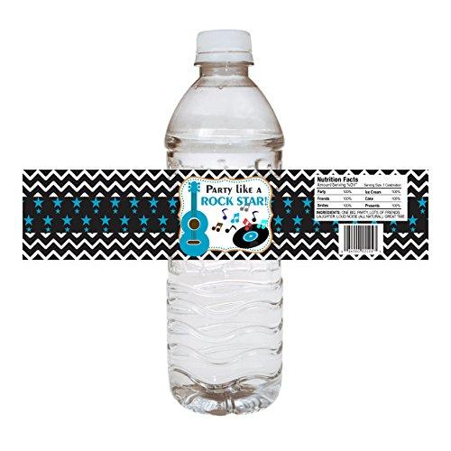 Adorebynat Party Decorations - EU Blau Rock Star Party Wasserflasche Etiketten - Getränkegetränk Ereignis-Aufkleber-Aufkleber für Jungen - Set 12
