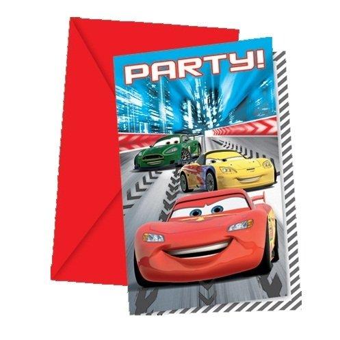 Procos 80489-Invitations avec Enveloppes Cars Racers, 6pièces, Rouge
