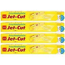 Jet-Cut Frischhaltefolie zum Schneiden, Consumer 30cm x 40m, PVC transparent, Vorratspackung 4 Stück im Set