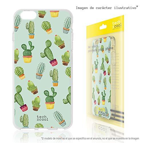 Funnytech® Funda Silicona para BQ Aquaris M5 [Gel Silicona Flexible, Diseño Exclusivo] Cactus Patrones Fondo Verde