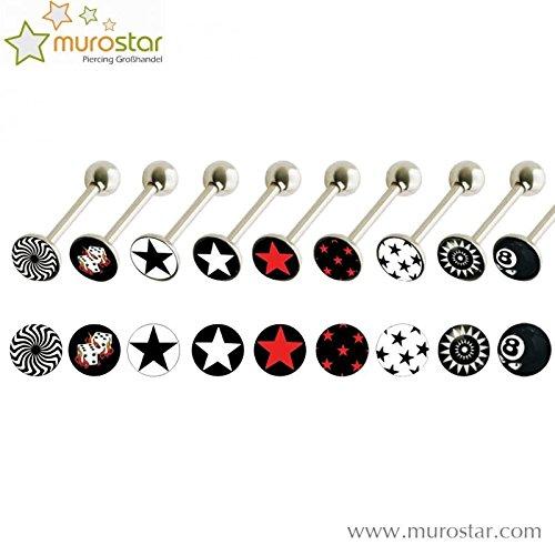 Stahl - Zungenbarbell - 1,6 mm (Piercing Stab für bspw. Zungenpiercing, Brustwarzenpiercing etc. silber) Red Stars Conception
