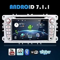 """Android 7.1 Quad-Core WiFi modelo 7 """"Full pantalla táctil Ford Focus coche DVD reproductor de CD GPS 2 DIN estéreo GPS navegación libre cámara, Canbus, color plateado"""