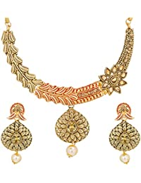 The Luxor Antique Gold Plated Pearls Floral Bridal Jewellery Set Choker Necklace Set For Women (NK-2105)
