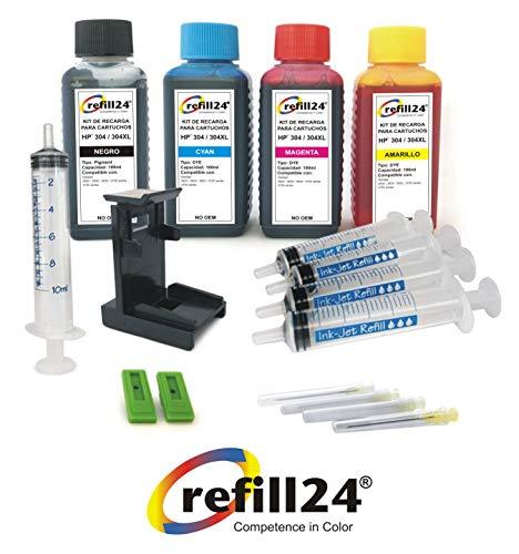Kit de Recarga para Cartuchos de Tinta HP 304, 304 XL Negro y Color, Incluye Clip y Accesorios + 400 ML Tinta