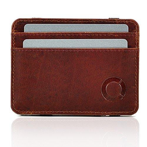 Echt Leder Herren Geldbörse Magic Wallet Brieftasche Geldbeutel bis 8 Karten Kartenetui Kreditkarten Kreditkartenetui