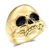 EVBEA Siegelring Skull Ringe für Herren Big Statement Gothic Skull Face Herren Ringe mit Schwarz Fein Geschenk-Box(Matt Vergoldet,10)