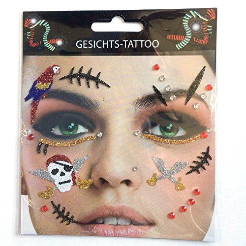 Gesichts Tattoo Face Art Halloween Karneval Pirat (Papier Piraten Hüte)
