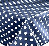 Wachstuch Tischdecke Abwaschbar Eckig 140 x 200 cm Punkte (Blau) -