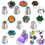 #10: HPK Multi Russian Nozzle's for Cake Decorating Icing Piping Nozzles with Triple Coupler Pack & Icing Bag (Assorted Designs)