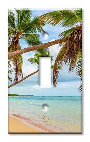 Wandplatte/Schalterplatte mit Palmen über dem Wasser Einzel-Kippschalter Mehrfarbig -