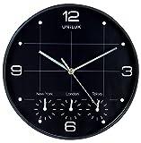 UNILUX 400094567 Wanduhr On Time schwarz Weltuhr Weltzeit-Uhr Global geeignet für Läden, Büros, lokalen New York London Paris Hong Kong 30 cm