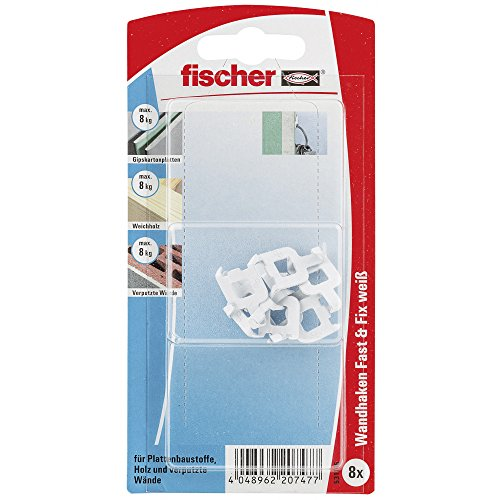 fischer-531116-fast-and-fix-white-wall-hook-multi-colour-8-piece