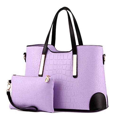 Auspicious beginning Damen Tasche mit großer Kapazität und passendem Portemonnaie 2er Set Taro lila