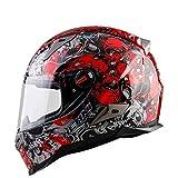 WLJBY Casco Integrale Casco Moto Impact Modular Road Race da Moto con Lente Anti-Fog D.O.T & ECE 22.05 Casco da Corsa Uomo e Donna, Fiore Rosso,XXL