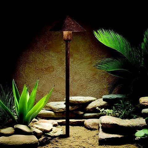 15439TZT Fundamentals 1LT Incandescent/LED Hybrid LV Landscape Path & Spread Light, Textured Tannery Bronze Finish by Kichler