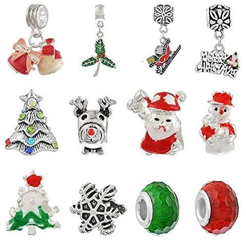 Souarts Perlen Beads Charms Schmuckanhänge Weihnachtsschmuck für Halsketten, Armband, DIY, Dekoration 1