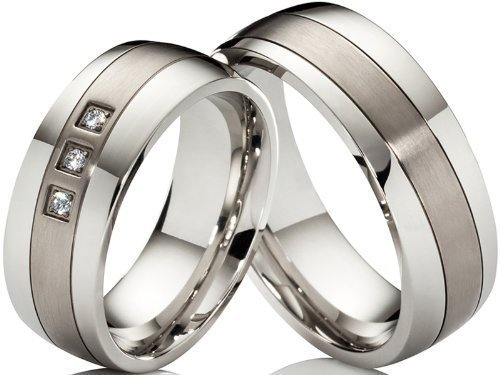 2 alianzas de póster con anillos de compromiso anillos de acero inoxi
