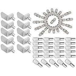 MZMing [60 pièce] 3 Styles de Goupilles de Support D'étagère Métal Compris les Supports en L-forme/étagères de Style Cuillère Plate/Goupilles d'étagère de Forme Cylindrique pour Armoires Bibliothèques