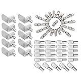 MZMing [60 pezzi] 3 stili di Supporto scaffale di metallo Compresi Supporti staffa a L/forma di cucchiaio piatto Perni per mensole/Perni per mensole di forma cilindrica per armadi/librerie, ecc.