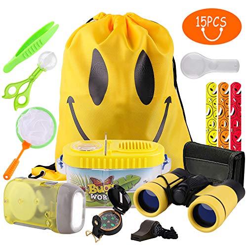 RIZUIEI Outdoor Explorer Kit Regalos Juguetes 12 Piezas de cumpleaños para niños de 3-10 años de Edad Aventura con Mochila Brújula Binocular Camping Catcher Bug Pretender Play for Kids