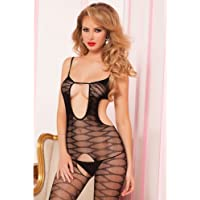 Seven Til Midnight Women's Spaghetti Strap Seamless ZigZag Pattern Body Stocking, One Size, Black