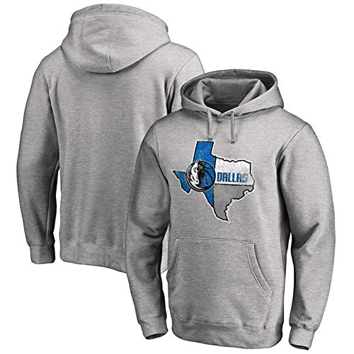 Mavericks Herren Basketball Langarm Hoodie Jersey Sweatshirt Trainingskleidung Jungen Freizeit Print Pullover Sportswear Top Schwarz S-3XLBetreten Sie den Laden mehr-Grey-XL