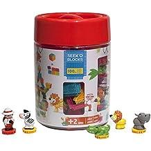 Seek'o Blocks Jeu de Construction 1er âge Multicolore - Baril Ferme avec personnages 100 Pièces - BA4004