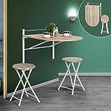 An der Wand hängender, zusammenklappbarer Holztisch mit Klappstuhl von Innovareds, länglicher Küchen- und Esstisch, Schreibtisch, Frühstückstisch