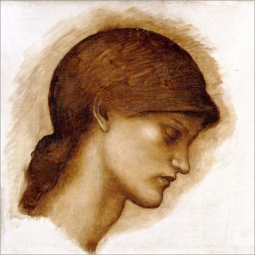 Wand-platten Viktorianischen (Forex-Platte 100 x 100 cm: Studie einer Dame von Edward Burne-Jones / Bridgeman Images)