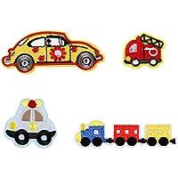 4pcs coche de policía/Tren/avión/velero/Baloncesto hierro en parches para