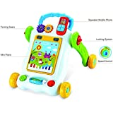 BAYBEE 2 in 1 Sit-to-Stand Push and Pull Baby Smart Activity Learning Walker Toy with Fun Musical Piano Tab for 1 Year Old, 46 x 31 x 15cm (Yellow)